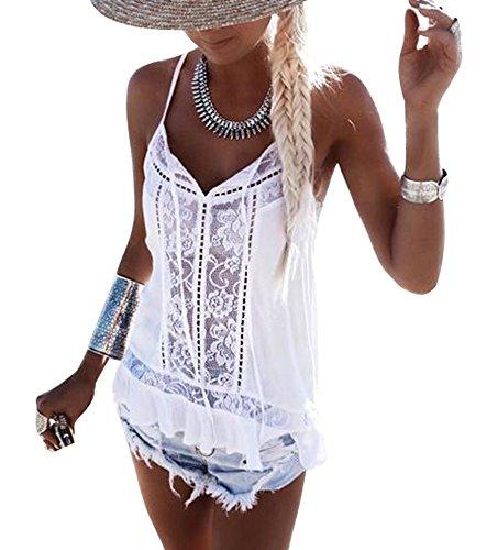 iMixCity Damen Tanktop Sommer Ärmellose Chiffon Blusentop Boho V-Ausschnitt T-Shirt Spitze Häkeln Hippie Weste Tops Casual Shirt (A# Weiß, M)