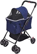 LYATW Pet Gear Pet Stroller for Cats/Dogs, Adjustable Breathable Nylon Net, Pets Breathe Free Without Pressure