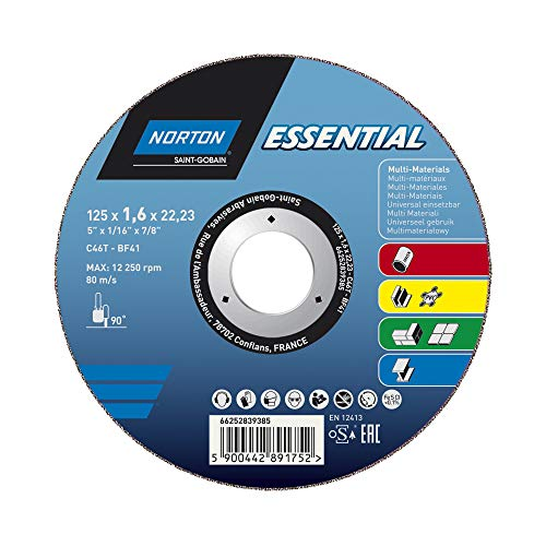 Norton Essential MEHRZWECK 125x1,6x22,23 Trennscheibe Typ 41, gerade für Winkelschleifer