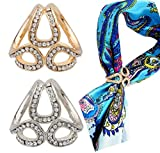 2PCS(Gold+Silver) Women Elegant Rhinestone Inlayed Triple Scarf Ring Buckle Modern Simple Jewelry Silk Clasp Clips Clothing Wrap Holder Wedding Party Decor Accessories for T-Shirt Neckerchief Shawl