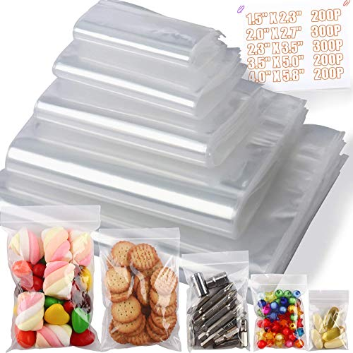 1200 PCS Small Plastic Bags, 1.5x2.3, 2x2.7, 2.3 x 3.5, 3.5 x 5, 4 x 5.8 Clear 2 Mil Clear Reclosable Plastic Poly Bags with Resealable Closure