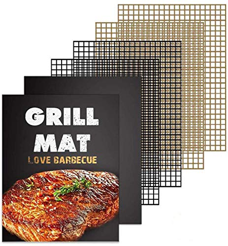 Wodahan Grill Mat Set of 6-100% Non-Stick BBQ Grill mesh mats,Heavy Duty,Reusable,and Easy to Clean - Works on Electric Grill Gas Charcoal BBQ - 15.75 x 13-Inch(4Pcs Mesh Mats+2Pcs Solid Mats)