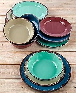 Rustic Melamine Dinnerware Set - Twelve Piece Shatterproof Farmhouse Plates and Bowls