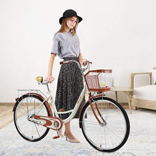 26 Inch Women's Cruiser Bike,Classic Bicycle Retro Bicycle Beach Cruiser Bicycle Retro Bicycle (Women's Bike,Lady) (Beige)