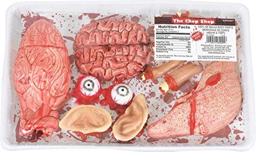 Amscan 673403-55 - Körperteile und Innereien, 1 blutiges Set bestehend aus Gehirn, Augen, Ohren, Finger, Leber und Lunge, Kunststoff-Imitate zu Dekozwecken, für die Halloween-, Grusel- oder Mottoparty