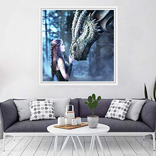 DIY 5D Diamond Painting Kits Full Drill Arts Craft Canvas Supply for Home Wall Decor Adults and Kids Round Diamond How to Train The Dragon Witch 12inx24in