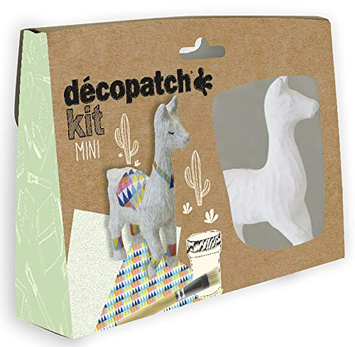 Décopatch KIT028C Bastel Mini-Set Pappmaché (Lama, ideal für Kinder) 1 Set