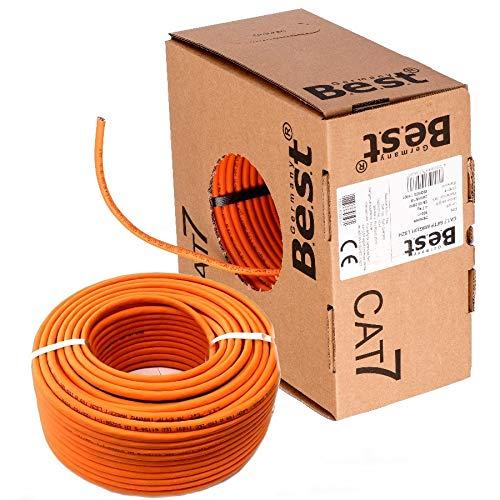 SatShop-Ft 100m CAT 7 Verlegekabel Netzwerkkabel CAT.7 LAN Halogenfrei Installationskabel CAT7 Kabel Netzwerk Verkabelung Datenkabel Gigabit Kupfer Ethernet (100m Abrollbox, Cat 7)