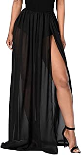Women Split Mesh Skirt See-Through Beach Party Maxi Skirts