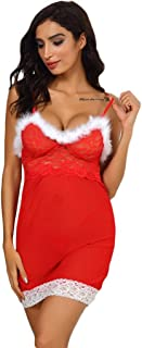 MOHOLL Women's Santa Lingerie Red Christmas Babydoll Set Strap Chemises Outfit Lace Sleepwear with Hat