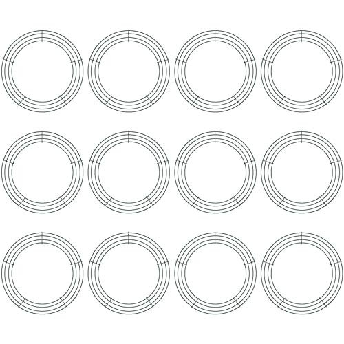 12 Pieces Metal Wreath Frame Dark Green Wire Round Wreath Rings Wire Wreath Frame for Christmas New Year Party Home Decor DIY Crafts Supplies (8 Inch)