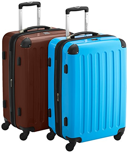 HAUPTSTADTKOFFER - Alex - 2er Koffer-Set Hartschale glänzend, TSA, 65 cm, 74 Liter, Braun-Blau