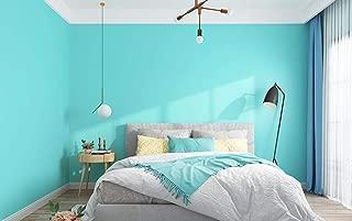 Junewind Wallpaper Self-Adhesive Bedroom Warm Wallpaper Waterproof PVC Pure Pigment Color Dormitory Bedroom Wall Stickers - Tiffany Blue (0.65M)