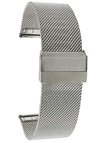 Bandini 22mm Silver Tone Stainless Steel Mesh Watch Band for Men - Fine Metal Mesh Replacement Watch Strap - Adjustable Length - Fold-Over Clasp