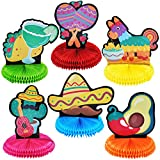 """6 Cinco De Mayo Fiesta Honeycomb Table Centerpiece 8.5"""" for Fun Fiesta Taco Party Supplies, Luau Event Photo Props, Mexican Theme Decoration, Carnivals Festivals, Taco Tuesday Event"""