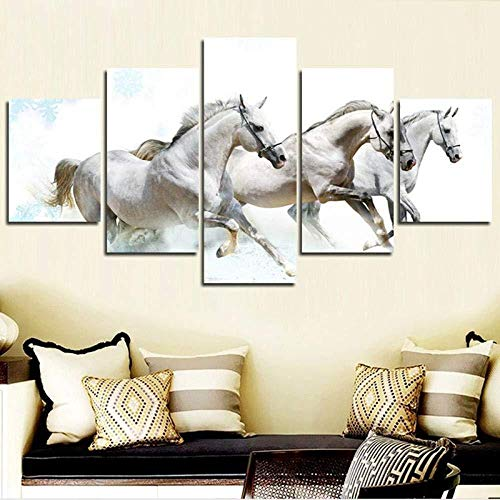 Modern Canvas Art Modular Hd Poster 5 Panel Running White Horse Painting Wall Pictures para la decoración de la sala de estar 30x40cmx2 30x60cmx2 30x80cmx1 Sin marco