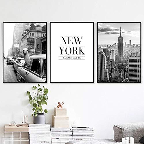 Póster en blanco y negro, arte de pared de la ciudad de Nueva York, paisaje urbano, impresiones en lienzo, carteles e impresiones, imagen para la decoración de la sala de estar | 40x60cmx3 sin marco