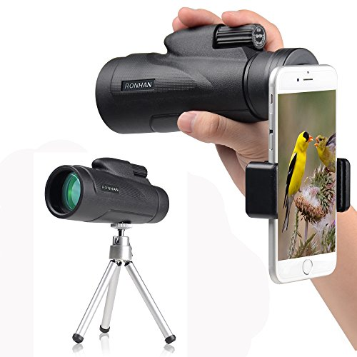 Monocular 12x50 High Powered Monocular Scope Telescope with Quick Smartphone Adapter and Tripod - Waterproof Fogproof FMC Lens and Bak4 Prism for Bird Watching Wildlife Scenery