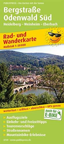 Bergstraße Odenwald Süd, Heidelberg - Weinheim - Eberbach: Rad- und Wanderkarte mit Ausflugszielen, Einkehr- &...