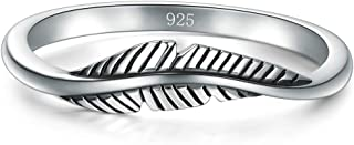 BORUO 925 Sterling Silver Ring, Feather Ring Size 4-12