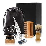 Bartpflege Set für Männer,Bartbürste, Bartschere,Bartkamm,Rasiermesser,Für Anfänger,Ideal als...