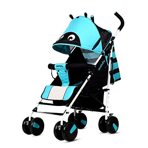 MUMA Landaus Bébé Portable Très Léger Antichoc Moustiquaire Tampon De Refroidissement Poussette Pliante Voiture Parapluie - Bleu