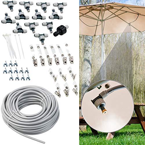Royal Gardineer Wassernebler: Wasser-Zerstäuber-Set mit 20-m-Schlauch und 12 beweglichen Metalldüsen (Wassernebler Terrasse)