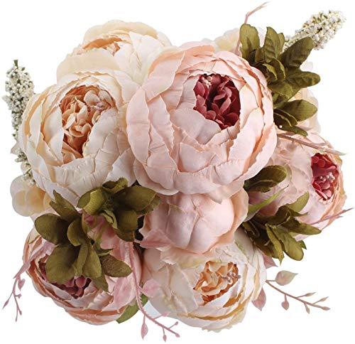 Ruiuzi Vintage Ramo de Flores de peonia Rosa, Artificial, para Boda decoración para el hogar (Light Pink)