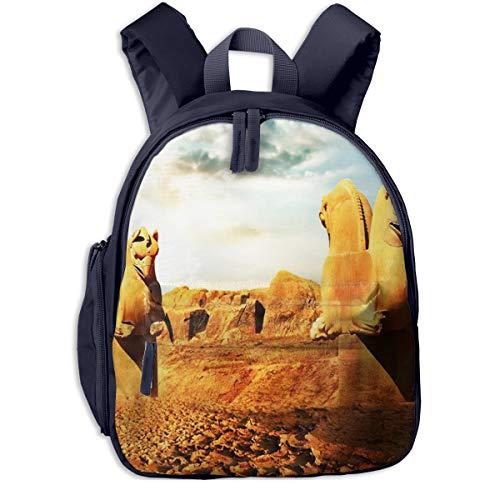 Mochila para Niños Esculturas persas Grifos, Mochila Escuela Primaria de Edad Peso Ligero Pérdida Mochila de Viaje para Chico Chica