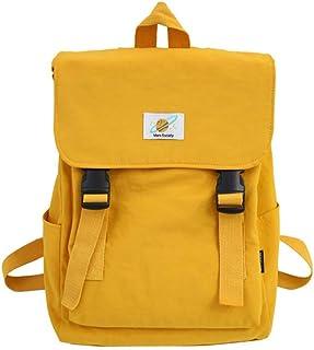 Kemelo Fashion Nylon Zaino Scuola Borsa Casual Zaino College Daypack per Adolescente,Zaino per Laptop,Giallo