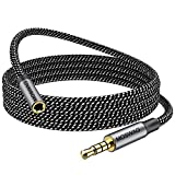 MOSWAG 6.6FT/2Meter 3.5mm Male to Female Extension Cable with Microphone Stereo Audio Adapter Nylon Braided Compatible for Home/Car Stereos Smartphones Headphones Tablets Media Players and More