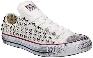 Scarpe Personalizzate Borchiate Sneakers Basse con Total Borchie Cono Argento Effetto Invecchiato