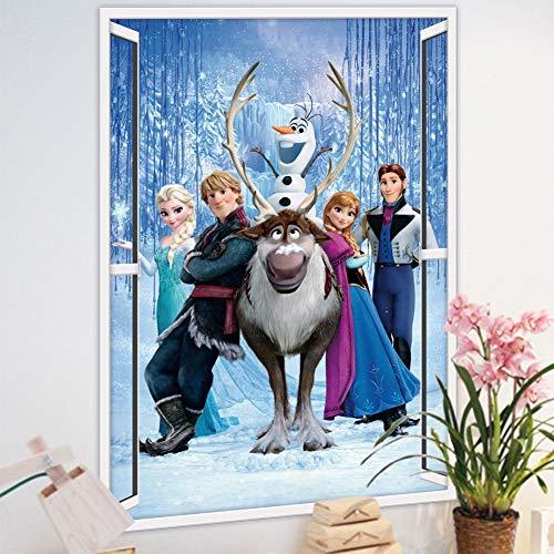 Cartoon Princesa Elsa Anna Diy Gefrorene Wandaufkleber niñas guarderías de fondo de decoración separables niños dormitorio póster autoadhesiva