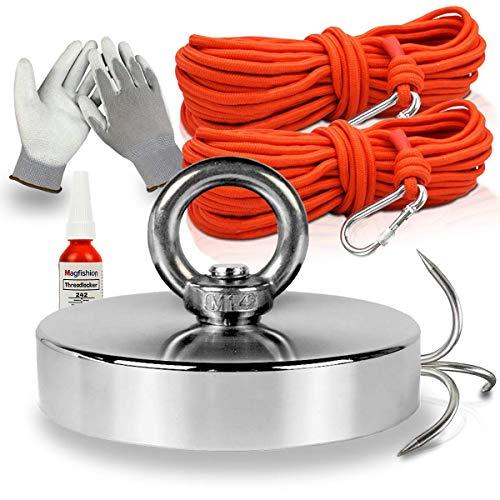 Magfishion® Mega Magnetfischen Set – 200 kg - Neodym Magnet Mit 2 Seilen – Perfekt zum Magnet Fischen - Ösenmagnet - Magnetangeln - Ø60mm