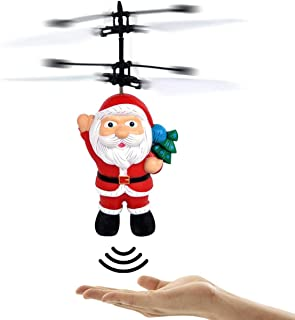DTDR Christmas Flying Ball Toy Santa Claus Helicopter LED Light Toy Flying Santa Claus Electric Infrared Suspension Smart ...