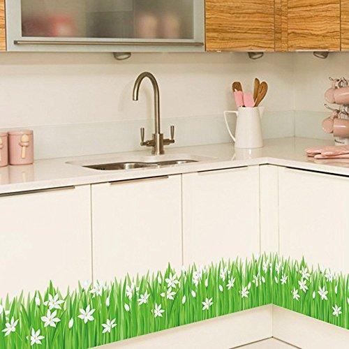 Ufengke Pegatinas Pared Hierba Verde Flores Blancas