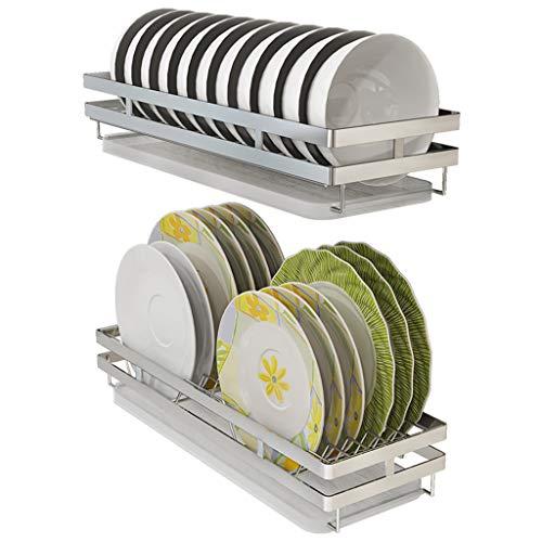 Escurreplatos, escurreplatos montado en la Pared, escurreplatos de Gran Capacidad antioxidante Organizador de Cocina con escurridor extraíble/portavasos para Cubiertos