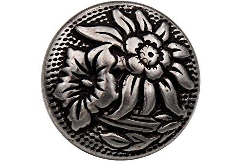 Knöpfe Metall Silber antik Edelweiss Enzian Ösenknöpfe Trachtenknöpfe Made in Germany 18mm 6 Stück