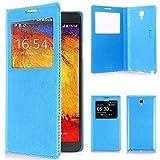 VCOMP ® Flip-Cover Hülle Hülle Schale Ansicht Kompatibel für Samsung Galaxy Note 3 Neo/Lite Duos 3G LTE SM-N750 SM-N7505 SM-N7502 - BLAU