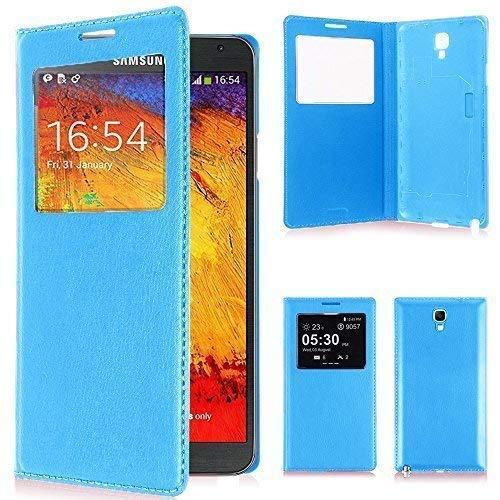 VCOMP ® Flip-Cover Case Hülle Schale Ansicht Kompatibel für Samsung Galaxy Note 3 Neo/Lite Duos 3G LTE SM-N750 SM-N7505 SM-N7502 - BLAU