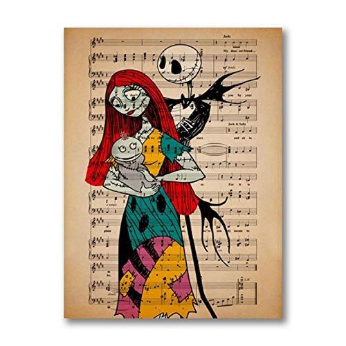 Jack Skellington Sally & Baby Girl Vintage Poster Música Lienzo Pintura Pesadilla antes de Navidad Decoración de la pared del cuarto de niños -50x75cm Sin marco