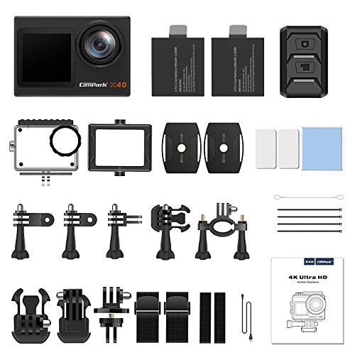 Campark X40 Action Camera 4K 20MP Dual Screen EIS Touchscreen Remote Control WiFi Waterproof 40M Vlogging Camera with 2x1350mAh Batteries and Accessories Kit Compatible with Go-Pro