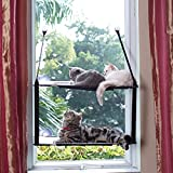 LIFIS Cat Window Perch Cat Hammock for Window 2 Layers Bed Up to 55lb Can Be Installed on Small Window Soft Mats Stable Metal Frames Kitty Sunny Seat (Double Layers, Grey) (Cat Face)