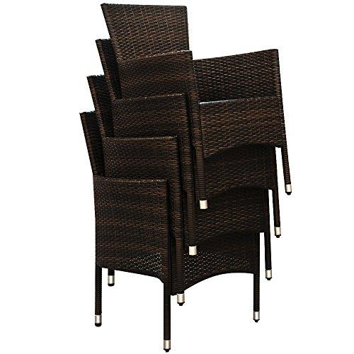 Deuba Poly Rattan Sitzgruppe 8 Stühle Stapelbar 7cm Dicke Auflagen Gartentisch Gartenmöbel Sitzgarnitur Garten Set Braun - 4