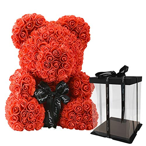Fafalloagrron - Oso de rosa con caja de regalo, diseño de ositos de peluche artificiales, regalo de Navidad, San Valentín, cumpleaños, fiesta de paisaje, plástico, Rojo, 37.8x28x3.5cm