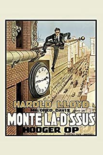 Posterazzi Poster Print Collection Harold Lloyd on a Flagpole Over a Busy City Street below Him a Large Clock, (24 x 36), Multicolored