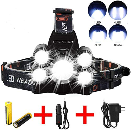 Headlamp Flashlight, Ultra Bright LED Work Head lamp Bright 6000 Lumen Head Lamp, 5 LED Work Headlight USB Rechargeable Waterproof Zoomable Flashlight for Running Camping Fishing Outdoor Work (Gold)