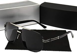AMTSKR Gafas de Sol polarizadas Casuales de Gran tamaño para Hombres,Gafas de Sol Mercedes-Benz Tonos De Moda Protección UV400 Gafas para Conducción(Color : Negro/Plata)
