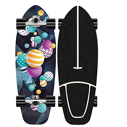 XKAI Principiante Surfskate Carver Skateboard Cruiser Pumping Fancy Board Complete 75 * 23CM CX4 Truck Fancy Board Madera Maple Longboard Skateboard Adult Dancing Skateboard, ABEC-11 Rodamientos