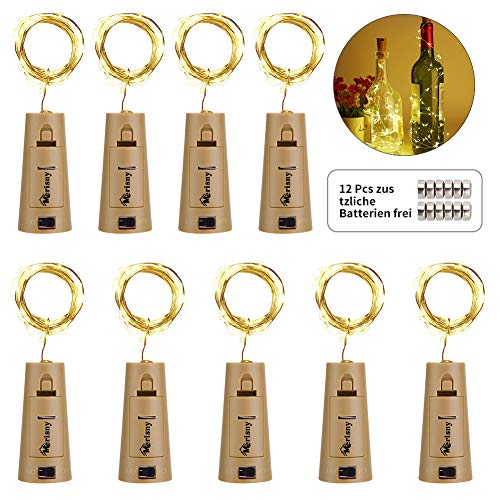 Merisny 9x 20 Flaschen-Licht Silberdraht Cork Form der LED Nacht Licht Weinflasche Hochzeit Party romantische Deko,12pcs Kostenlos Batterien als Geschenk,warm weiß [kein Schraubendreher erforderlich]
